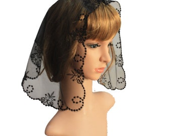 Small Size Embroidery Lace Veil ,Catholic Church Veil ,Lady Head Covering Veil