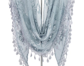 Triangular Lace Veil , Floral Chapel Veil Scarf ,Catholic Veil,Church Women Head Covering