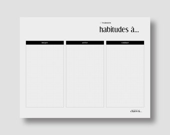 Outil analogique imprimable . Bilan des habitudes