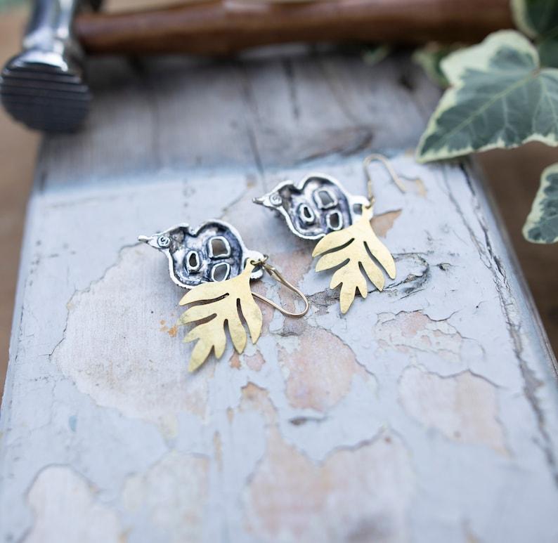 Reworked vintage snake earrings silver snake earrings solid brass leaf earrings gold leaf statement earrings