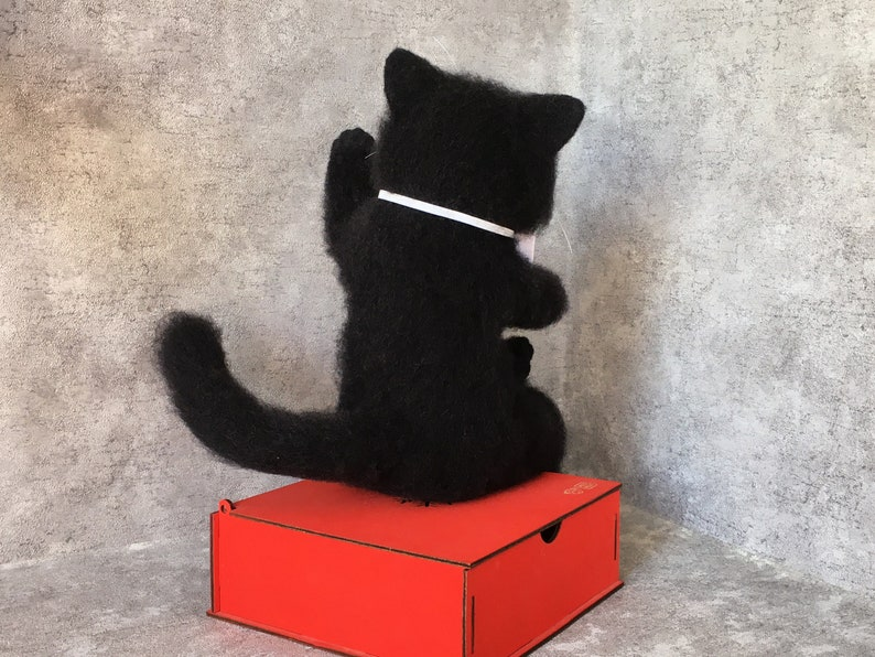 Art doll animal black cat figurine  needle felting  statue unique pet parent gift for Christmas Anniversary Halloween Birthday Mothers day