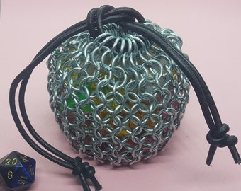 Large Chain Mail Dice Bag (Galvanised Steel)