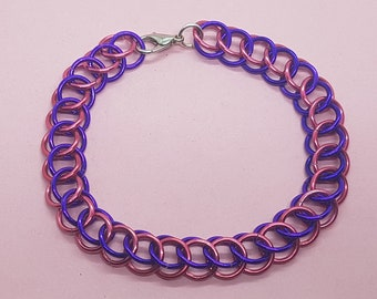 Pink and Purple Half-Persian Chainmail Bracelet