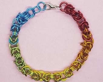 Rainbow Byzantine chainmail bracelet