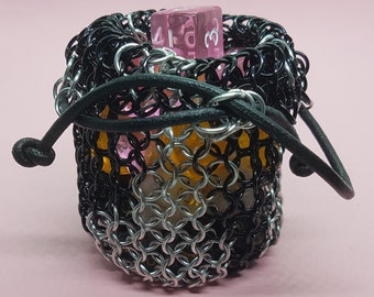 Black and White Flame-Effect Chainmail Dice Bag