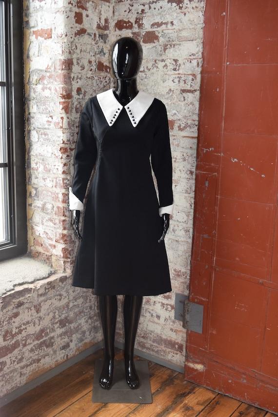 Vintage 70s Dagger Collar Dress with Embellished C