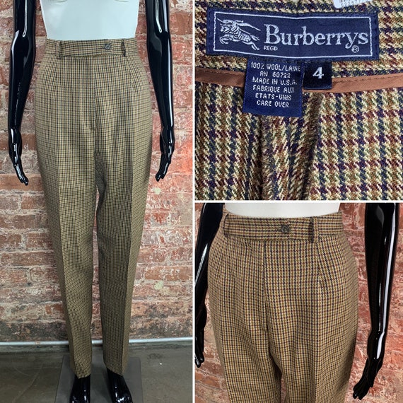 Vintage 80s Wool Houndstooth Trouser by Burberrys