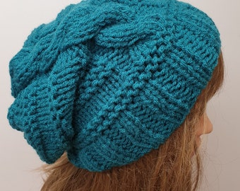 Hand knitted slouch hat, women slouchy beanie, teal knit hat, cable hat, winter slouch hat, baggy beanie, hat for women, gift for her