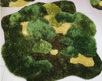 3D Area Rugs Carpet/Vegetal Rug/Tundra/Grass/Mosses Rugs/Arts/Meadows Rug/Nursery/Lush Green Landscapes/Customized Rugs/Moss Rug/Tufted Rug