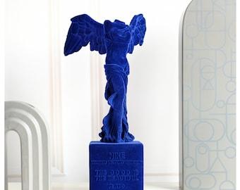 Yveskleinblue Flocked Sculpture/Victory Goddess Flocked Statue/Flocking Plaster Ornaments/Artwork Sculpture/Velvet Planting yvesklein
