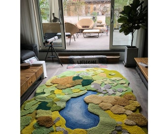 3D Area Rugs Carpet/Lake/Tundra/Mosses Rugs/Arts/Kids Rugs Carpet/Nursery/Bedside Rugs/Grass Rugs/Customized Rugs/Curvy/Squiggly/Wavy decor