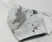 Modern Cotton Handmade Face Masks, Black and white, marble, grey and white marble print