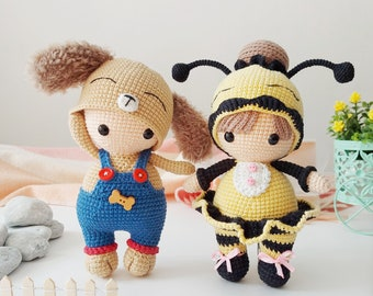 Easter bunnies Spring bee and Baby plant with pot Amigurumi dolls Gardener dog Easter crochet pattern 6 in 1 Chick with egg basket