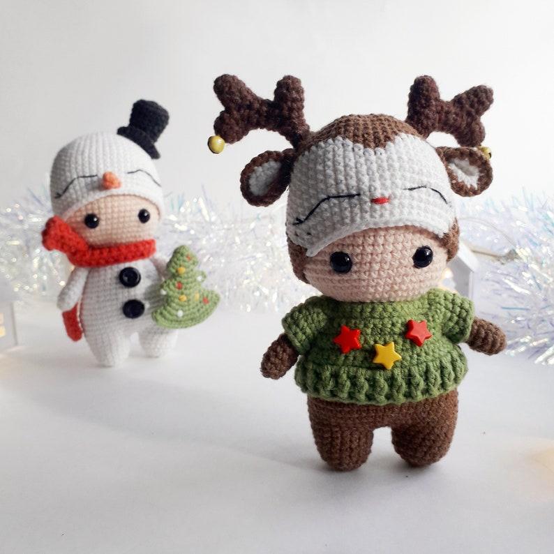Amigurumi christmas toy 3 in 1 Crochet pattern Christmas snowman reindeer and gingerbread man