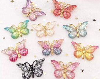 Handmade Little Princess Glitter Butterfly Button Set 15mm