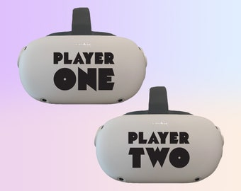2-PACK Ready Player One & Player Two Oculus Quest and Oculus Quest 2 Decal ~ Custom Color ~ Free Shipping ~ Premium Vinyl