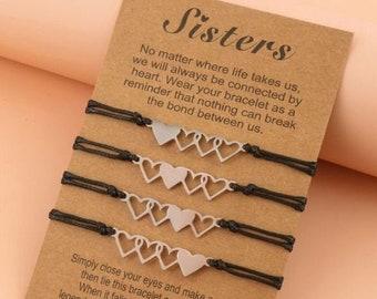 Sister Heart Bracelets For 2, 3, 4 & 5, Friendship Bracelet For 2, 3, 4 and 5, Sister Matching Bracelets, Best Friend Gift