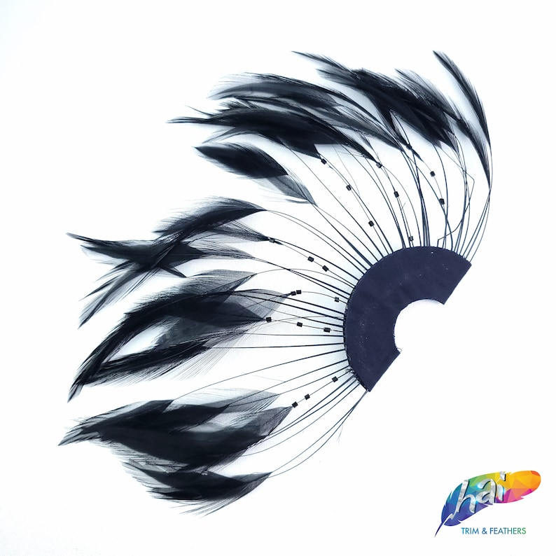 Individual Bleached Dyed Hackle Feather Pinwheel for Hats and Headpieces Colorful Half Pinwheel Stripped Hackle Feathers Sold by Piece