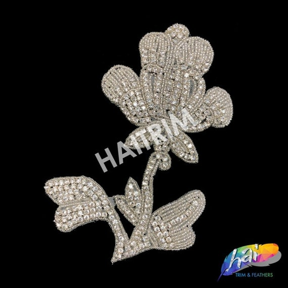 Wedding Formal Prom Crystal Patch by the Pair RA-254 Beaded Rhinestone Applique