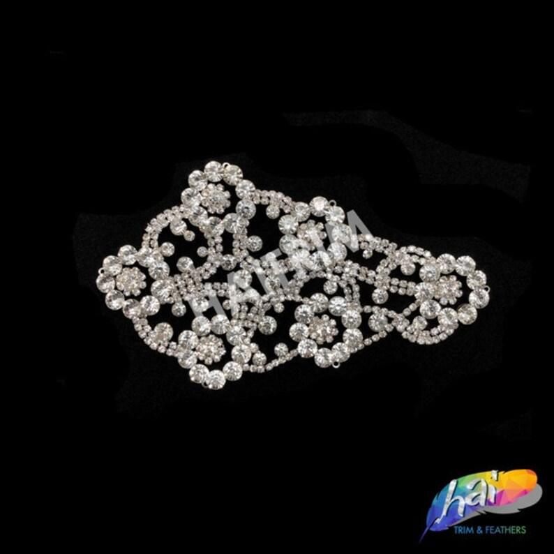 Rhinestone Applique on Metal Settings YH-253 Silver Crystal Rhinestone Motif on Metal Settings Wedding Formal Prom Crystal Patch