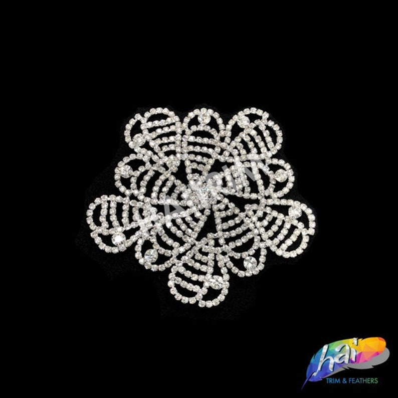 Silver Crystal Rhinestone Motif on Metal Settings Wedding Formal Prom Crystal Patch Rhinestone Applique on Metal Settings YH-091