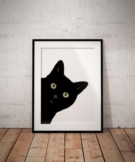 FunnyCat Art Cat Poster Pet Print |Queer cat Cat China Ink Painting Cat Lover Gift Black Cat Print Cat Wall Art Cat Wall Print
