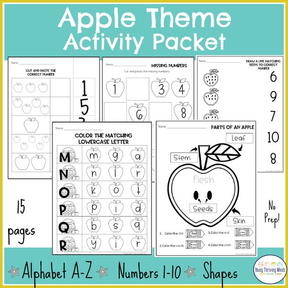 Apple theme Pre K activity printable Numbers & Counting