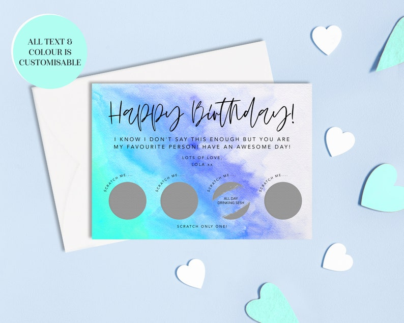 Envelope Included Custom Birthday Surprise Scratch Off Anniversary Card Reveal Scratch Card Personalised Scratch Card Blue