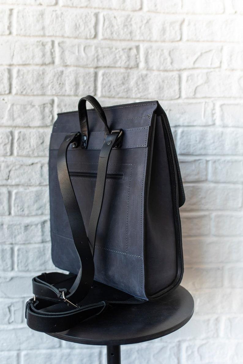 Blue and black rucksack women Stylish minimalist backpack purse Men/'s travel bag Large office bag Two color leather backpack men