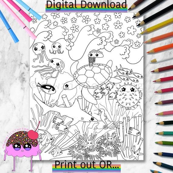 Printable Coral Reef Coloring Page Ocean Coloring Page Color