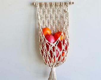 Macrame Storage Basket Wall Hanging, Fruit & Vegetable Hanging Basket, Boho Home Decor
