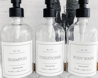 Shampoo and Conditioner Labels/ Waterproof Bathroom Labels/ Hand Soap Labels/ Hand Lotion Labels