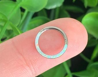 Implant Grade Titanium Front Facing Opal Septum Ring Hinged Hoop