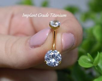 Implant Grade 23 Titanium Internally Threaded CZ Gem Belly Button Navel Ring