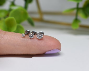 Cute 4mm CZ Star Top Cartilage Bar Claw Prong Set Crystal Ball End Piercing UK