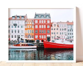 Wes Anderson's Nyhavn Copenhagen, Rustic Farmhouse Wall Decor, Danish Waterfront Artwork, European Canal Boat Art Print