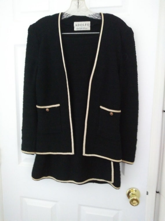 Vintage Adolfo black wool skirt suit