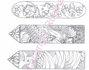 4 Bookmarks to color, different shapes and designs, digital download