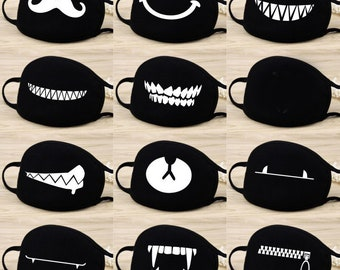 FUNNY FACE Mask Coverings, Washable and Reusable! Cartoon and Anime Design, Bear Face,Smiley, Zipper,Mustache Fast Shipping. Double Layered.