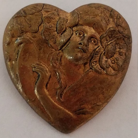 Art Nouveau Heart Brooch - image 1