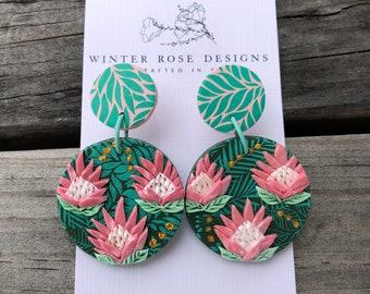 Protea Earrings / Australian Native Earrings / Polymer clay Earrings / floral earrings / lightweight earrings/ made to order
