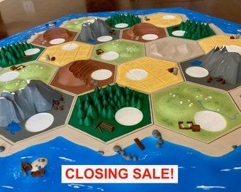 Custom 3D Settlers Board Set | Unique GOAT3DCreations design for catan resource hexes