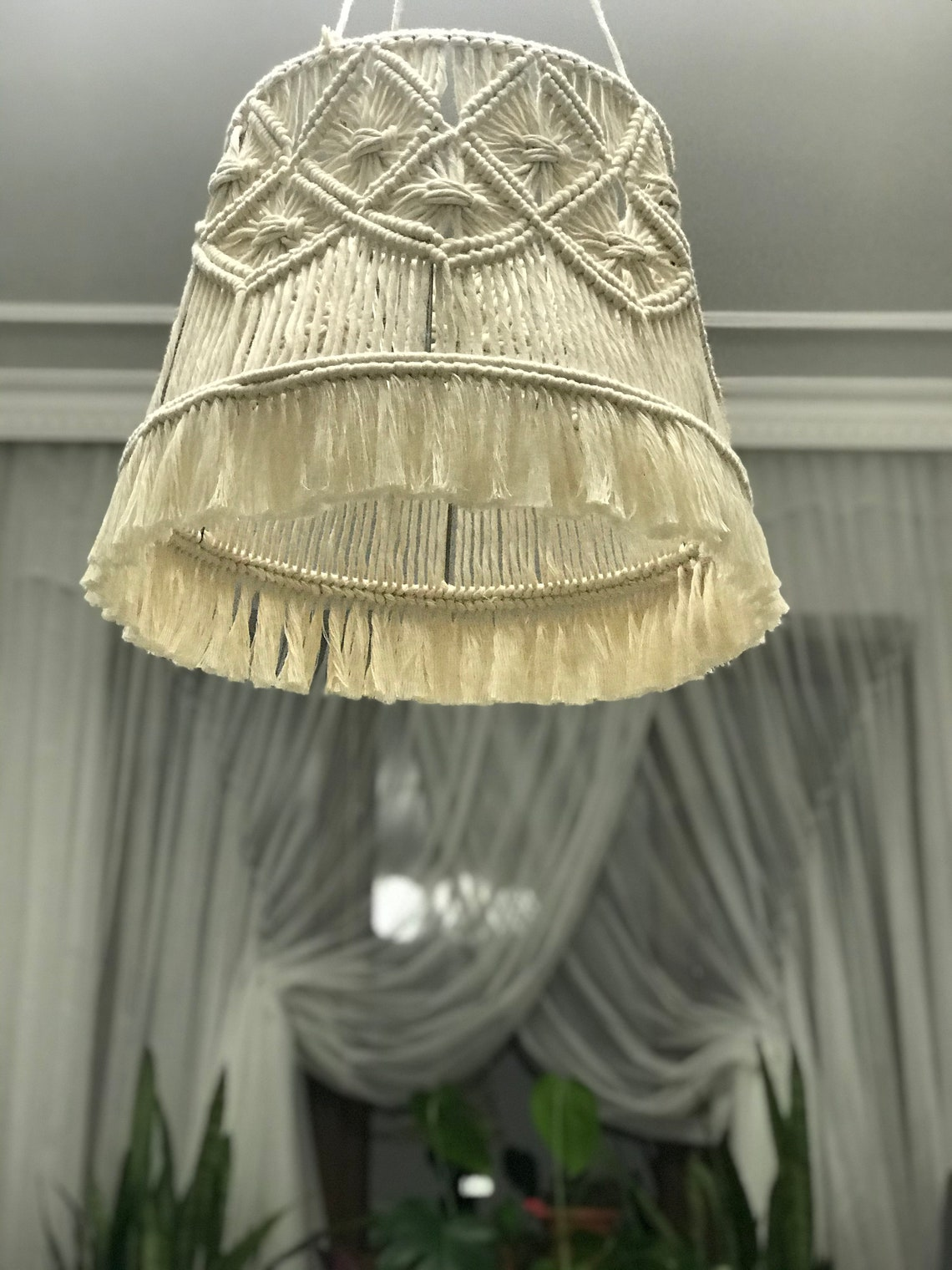 Modern Macrame Lamp Shades For Kids Decorative Handmade Bedroom Chandelier Tassels Lampshade Nursery Gifts Boho Lampshade