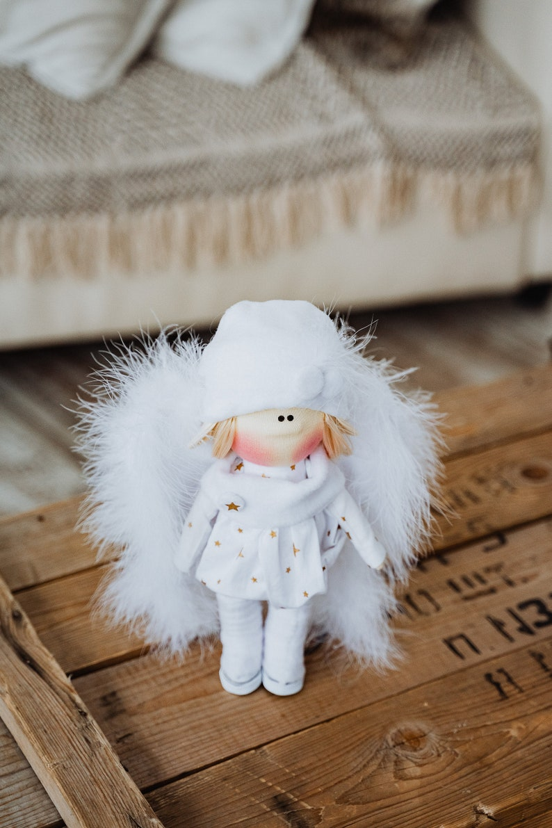 how to sew a doll with angel wings on your own.Sewing TEMPLATE PDF Video tutorial Angel Rag doll! Master class