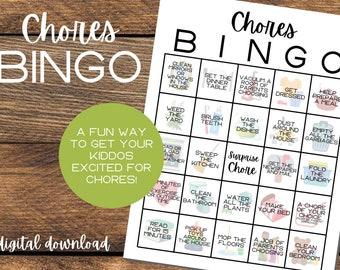 Chores Bingo   Chore Chart Bingo   Chore Charts   Chores Game   Cleaning Bingo   Digital Download   Printable Chore Chart   Daily Task Chart
