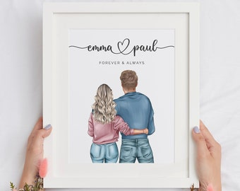 Personalised Couple Print, Couples Gift, Gift for Her, Boyfriend Girlfriend Print, Customised Couple Gift, , Anniversary Gift, Valentine