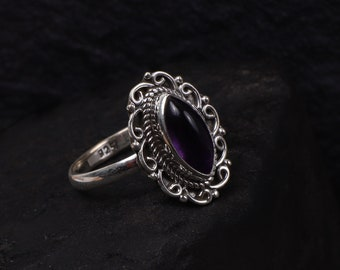 Amethyst Marquise Shape Stone Ring, 925 Solid Silver Ring, Women's Ring, Statement Ring, Hand Crafted Bohemian Ring, Unique Everyday Ring