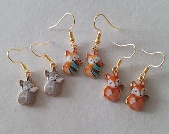 Fox bead earrings Vulpine halloween earrings Fall beaded earrings Ginger fox jewelry Nature inspired forest earrings wild Animal earrings