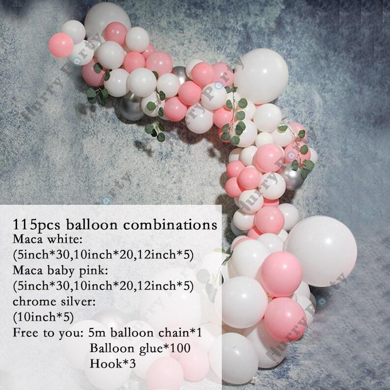 115Pcs Decorations Balloons Garland Arch Kit Macaron Baby Pink Pastel White Birthday Wedding Anniversary Party Decor Baby Shower