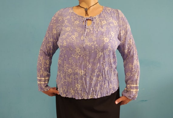 Vintage blouse Purple blouse Vintage 90s Plus size